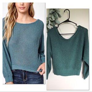 LA Hearts Sage Knit Dolman Pullover Sweater